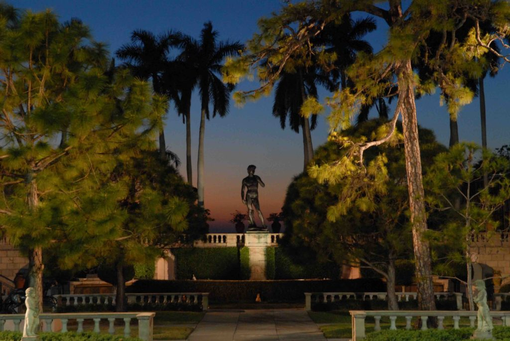 A replica of the Statue of David looms above the beautiful sculpture garden courtyard at The Ringling Museum.